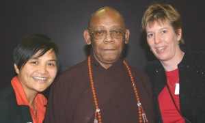 Diane Gregorio, Bhante, and Maia at BPF event, 2006